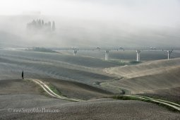 An old ground road and a modern linear one runs through misty Tuscany fields